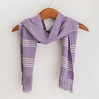 Bamboo fiber scarf, 'Mystic Maya Lilac' - Lilac and White Handwoven Rayon Scarf