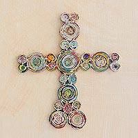 Recycled paper wall cross, 'Godly Love' - Handcrafted Recycled Paper Wall Cross from Guatemala