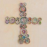 Recycled paper wall cross, 'Stellar Love' - Artisan Crafted Recycled Paper Wall Cross from Guatemala