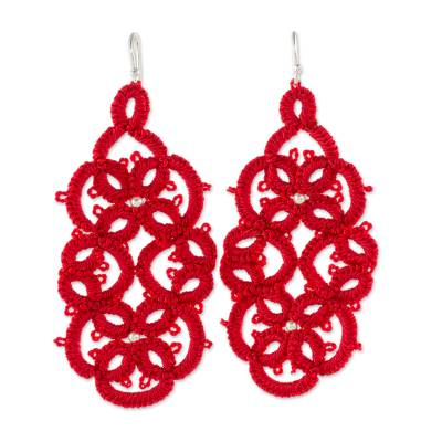Hand-Tatted Dangle Earrings in Aurora Red from Guatemala