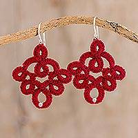 Hand-tatted dangle earrings, 'Cherry Red Lace' - Cherry Red Hand-Tatted Lace Earrings