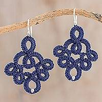 Featured review for Hand-tatted dangle earrings, Navy Blue Lace