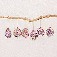 Recycled paper ornaments, 'Drops of Love' (set of 6) - Six Drop-Shaped Recycled Paper Ornaments from Guatemala