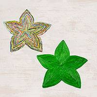 Recycled paper trivets, 'Stellar Beauty in Green' (pair) - Two Star-Shaped Recycled Paper Trivets from Guatemala