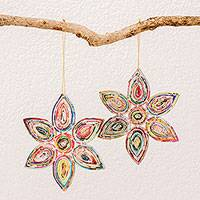 Recycled paper ornaments, 'Passover Stars' (pair) - Two Star-Shaped Recycled Paper Ornaments from Guatemala