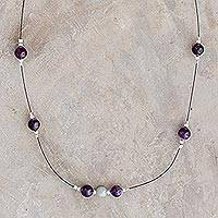 Amethyst and jade beaded necklace, 'Amorous Purple' - Amethyst and Jade Beaded Necklace from Guatemala