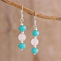 Rose quartz and crystal dangle earrings, 'Delicacy' - Rose Quartz and Crystal Dangle Earrings from Guatemala