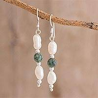 Jade and cultured pearl dangle earrings, 'Fascinating Elegance' - Jade and Pearl Dangle Earrings from Guatemala