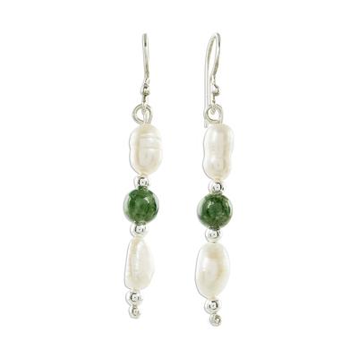 Jade and cultured pearl dangle earrings, 'Fascinating Elegance' - Jade and Pearl Dangle Earrings from Guatemala