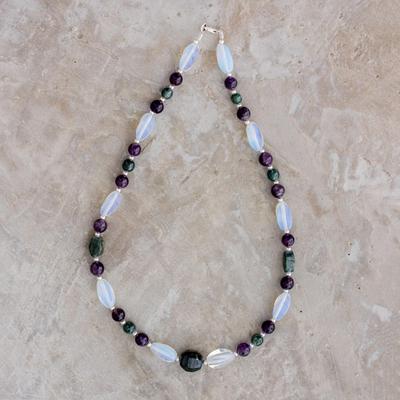 5db21e06123ea2 Multi-gemstone beaded necklace, 'Natural Fields' - Multi-Gemstone Beaded  Necklace