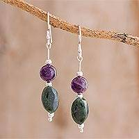 Jade and amethyst dangle earrings, 'Natural Fields' - Jade and Amethyst Dangle Earrings from Guatemala