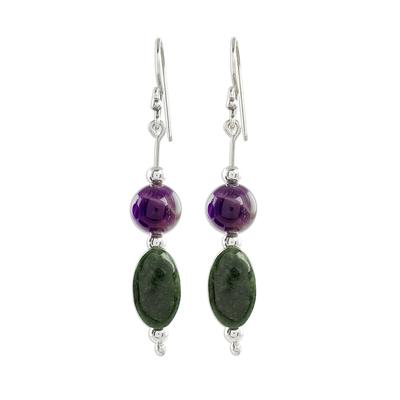 Jade and amethyst dangle earrings, 'Natural Fields' - Jade and Amethyst Dangle Earrings from Guatemala
