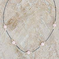 Rose quartz beaded necklace, 'Suave Pink' - Rose Quartz and Silver Beaded Necklace from Guatemala
