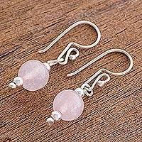 Rose quartz dangle earrings, 'Suave Pink' - Rose Quartz and Silver Dangle Earrings from Guatemala