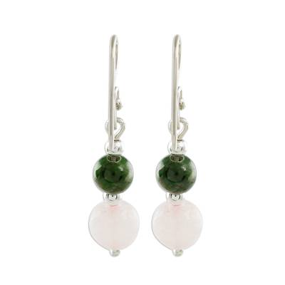 Jade and rose quartz dangle earrings, 'Fantastic Combination' - Jade and Rose Quartz Dangle Earrings from Guatemala