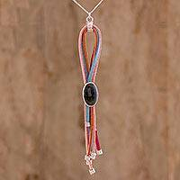 Jade pendant necklace, 'Rain of Colors' - Handmade Jade Leather and Sterling Silver Pendant Necklace