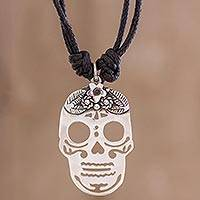 Sterling silver pendant necklace, 'Lovely Catrina' - Sterling Silver Skull Pendant Black Cotton Cord Necklace