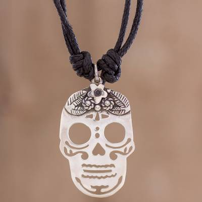 Sterling Silver Skull Pendants Sterling silver skull pendant black cotton cord necklace lovely sterling silver pendant necklace lovely catrina sterling silver skull pendant black cotton audiocablefo