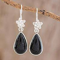 Jade dangle earrings, 'Enduring Bloom in Dark Green' - Sterling Silver and Dark Green Jade Teardrop Dangle Earrings