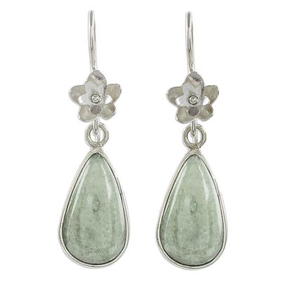 Jade dangle earrings, 'Enduring Bloom in Apple Green' - Sterling Silver Flower and Apple Green Jade Dangle Earrings