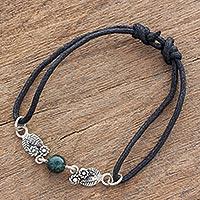 Jade and sterling silver pendant bracelet, 'Jade Bouquet' - Sterling Silver and Jade Floral Motif Pendant Bracelet