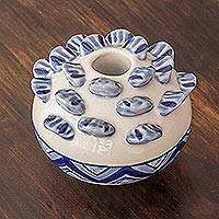Ceramic candle holder, 'Explorations in Blue' - Blue and White Ceramic Candle Holder for 1-Inch Taper