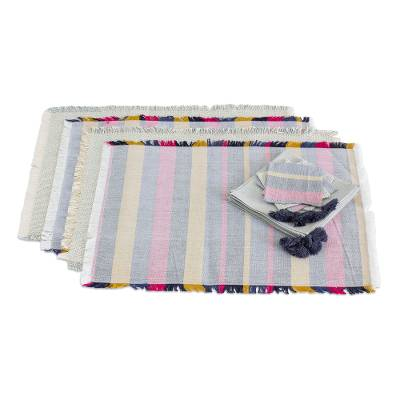 Cotton table linen set, 'Dinner Style' (set of 4) - Multicolored Cotton Table Linen Set (4) from Guatemala