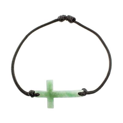 Jade pendant bracelet, 'Maya Faith in Apple Green' - Cross-Shaped Apple Green Jade Bracelet from Guatemala