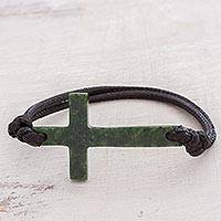 Jade pendant bracelet, 'Maya Faith in Dark Green' - Cross-Shaped Dark Green Jade Bracelet from Guatemala
