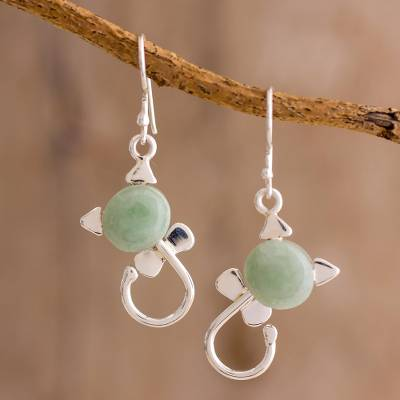 Jade dangle earrings, 'Small Felines in Light Green' - Cat-Shaped Jade Earrings in Light Green from Guatemala