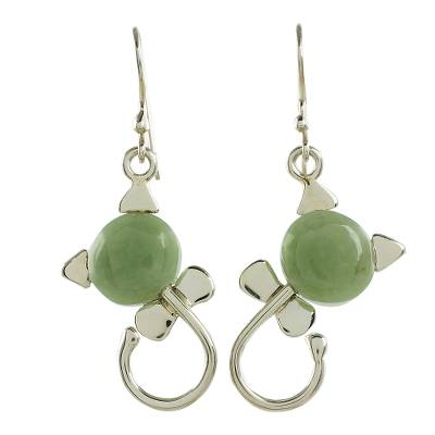 Cat-Shaped Jade Earrings in Light Green from Guatemala