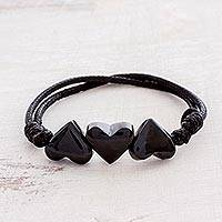 Jade pendant necklace, 'Maya Love in Black' - Heart-Shaped Jade Pendant Bracelet from Guatemala