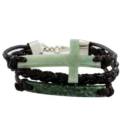 Jade pendant bracelet, 'Heavenly Cross in Light Green' - Jade Cross Bracelet in Light Green from Guatemala