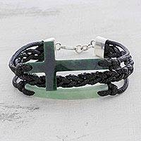 Jade pendant bracelet, 'Heavenly Cross in Dark Green'