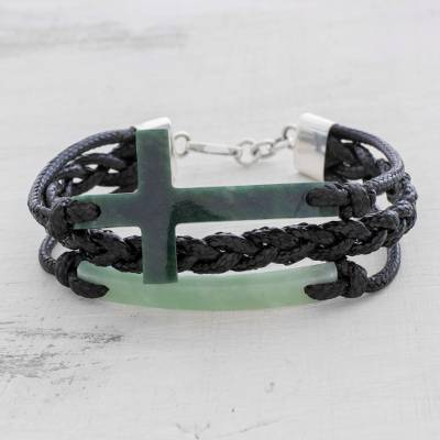 Jade pendant bracelet, 'Heavenly Cross in Dark Green' - Jade Cross Bracelet in Dark Green from Guatemala