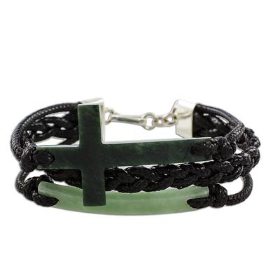 Jade pendant bracelet, 'Heavenly Cross in Dark Green' - Jade Cross Bracelet in Dark Green from Guatemala