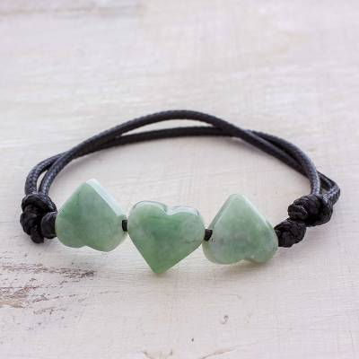 Jade pendant bracelet, 'Maya Love in Light Green' - Jade Heart Pendant Bracelet in Light Green from Guatemala