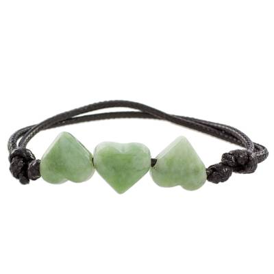 Jade pendant bracelet, 'Maya Love in Light Green' - Jade Heart Pendant Bracelet in Light Green from Guatemala