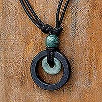 Jade pendant necklace, 'Ring of Peace'