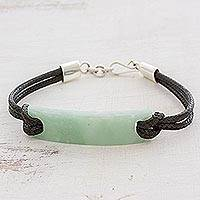 Jade pendant bracelet, 'Monolith in Light Green'