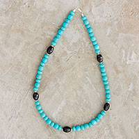 Jade beaded necklace, 'Ancient Beauty' - Jade Beaded Necklace in Blue from Guatemala