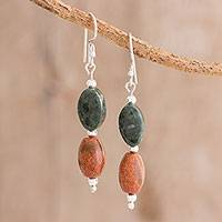 Jade and aventurine dangle earrings, 'Forest Sunset' - Jade and Aventurine Dangle Earrings from Guatemala