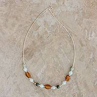 Jade and agate beaded necklace, 'Honey Elegance' - Jade and Agate Beaded Necklace from Guatemala