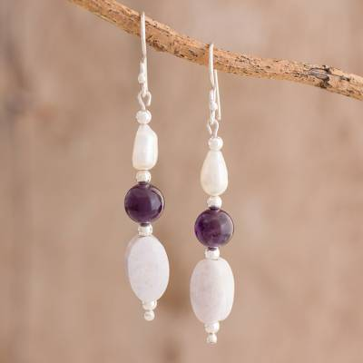 Multi-gemstone dangle earrings, 'Tenacious Beauty' - Multi-Gemstone Beaded Dangle Earrings from Guatemala