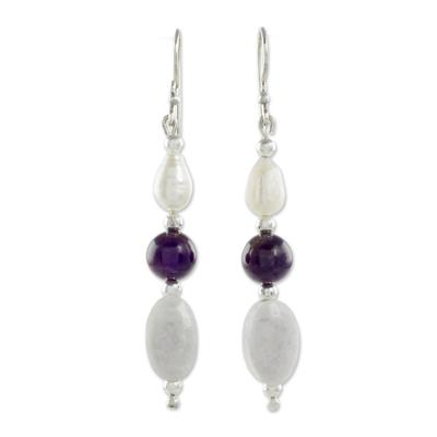 Multi-gemstone dangle earrings, 'Tenacious Beauty' - Multi-Gemstone Beaded Dangle Earrings from Guatemala