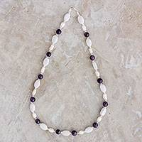 Multi-gemstone beaded necklace, 'Tenacious Beauty' - Jade Amethyst and Pearl Beaded Necklace from Guatemala