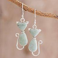 Jade dangle earrings, 'Cats of Love in Light Green'
