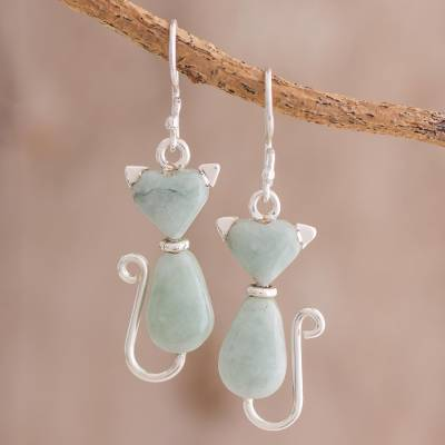 Jade dangle earrings, 'Cats of Love in Light Green' - Jade Cat Dangle Earrings in Light Green from Guatemala