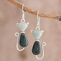 Jade dangle earrings, 'Cats of Love' - Two-Tone Jade Cat Dangle Earrings from Guatemala