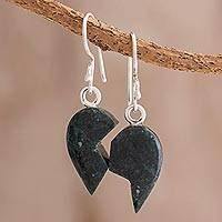 Jade dangle earrings, 'Love Together in Dark Green' - Dark Green Jade Heart Puzzle Dangle Earrings from Guatemala